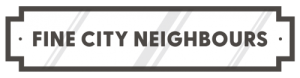 Fine City Neighbours Logo- a vintage street sign with the text 'Fine City Neighbours'