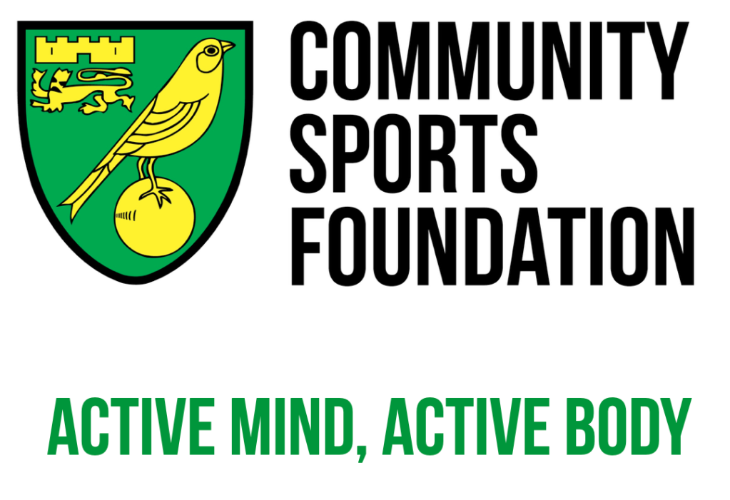 The NCFC Community Sports Foundation logo, with green text underneath that reads 'Active Mind, Active Body'