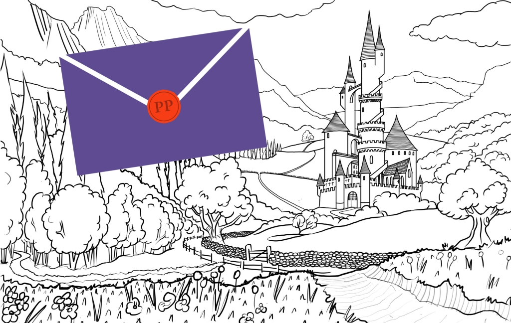 The image shows a line-drawing of a fairytale castle with turrets, in the centre of a mountainside, on the edge of a forest. Over the top of the image is a large purple envelope with a red seal and the initials PP which stand for 'puppets in the post'.