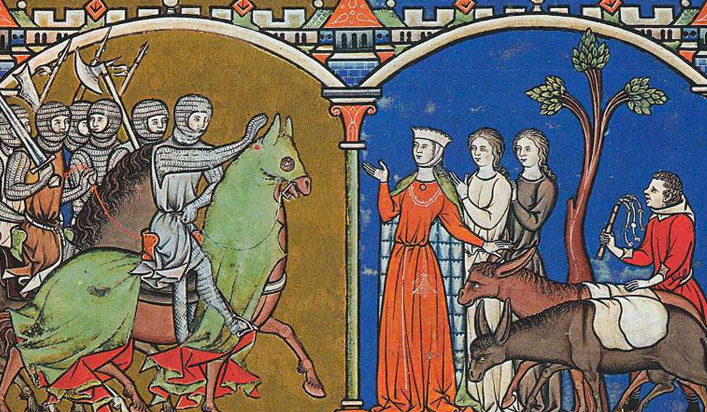 This is a medieval illustration of a group of knights on horseback greeting a group of women and two donkeys.