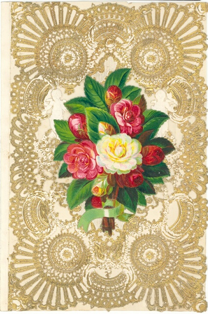 An image of a Victorian Valentines card held in the collection at the Museum of Norwich. It shows a bouquet of flowers on a golden filigree background.