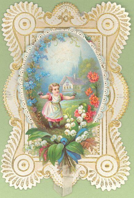 An image of a Victorian Valentines card held in the collection at the Museum of Norwich. It shows a small girl standing in a garden with a cottage in the background. She is holding two posies of flowers.