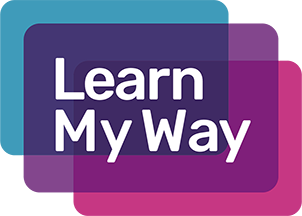 Image of the Learn My Way logo, which is three translucent rectangles with rounded corners layered on top of each other. One is turquoise, one purple and one hot pink. The logo has the words 'Learn My Way' in bold white sans-serif text.