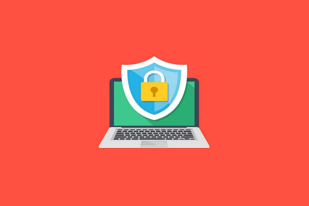 Illustration of open laptop with a shield in front