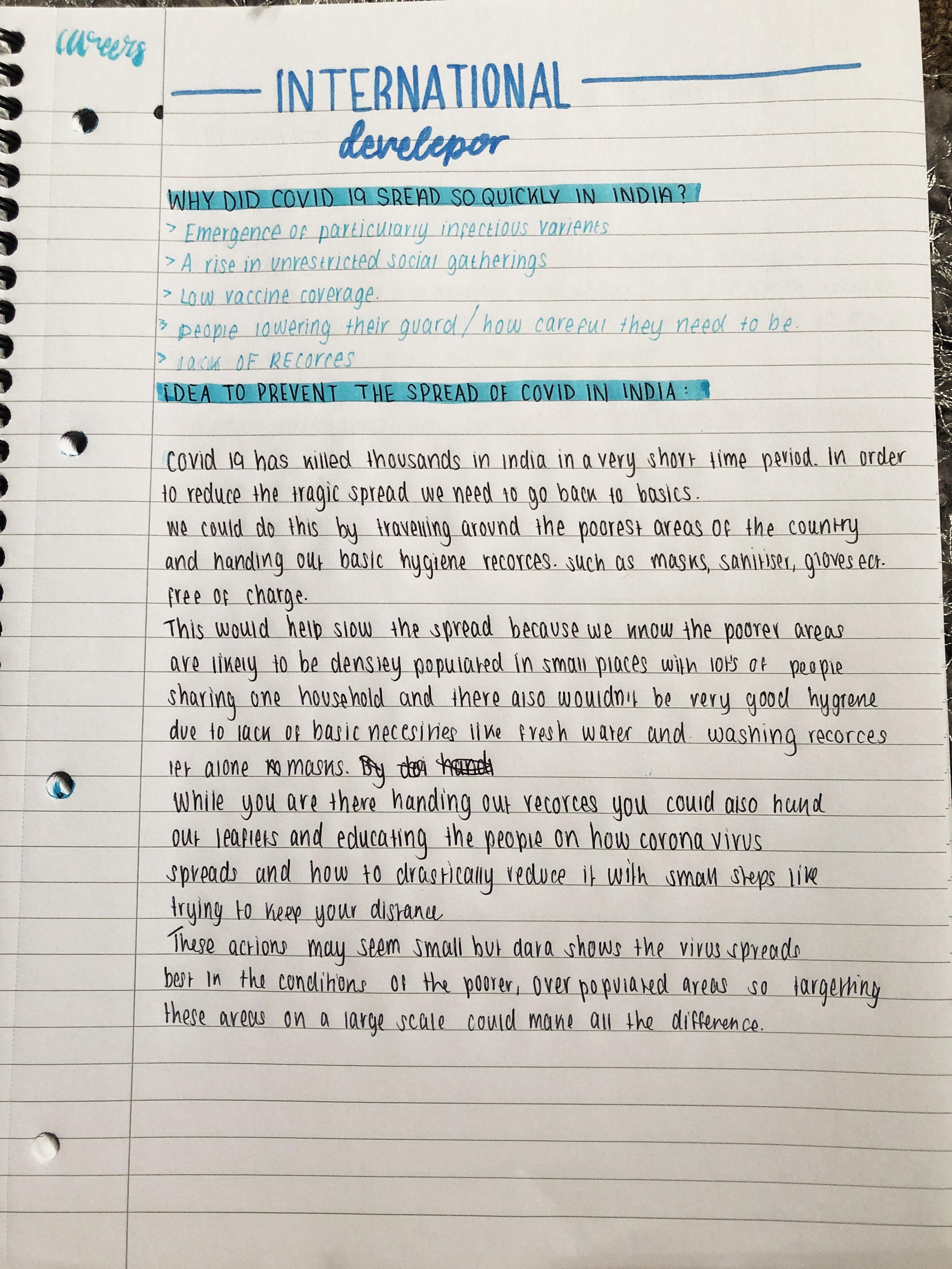 Essay on international development by a student from Sir John Leman