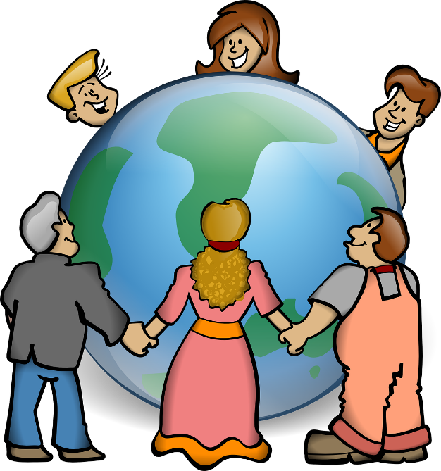 People of different cultures and ethnicities holding hands around a globe.