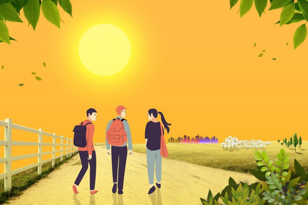 Three students happily walking towards the sunset, engaged in conversation.