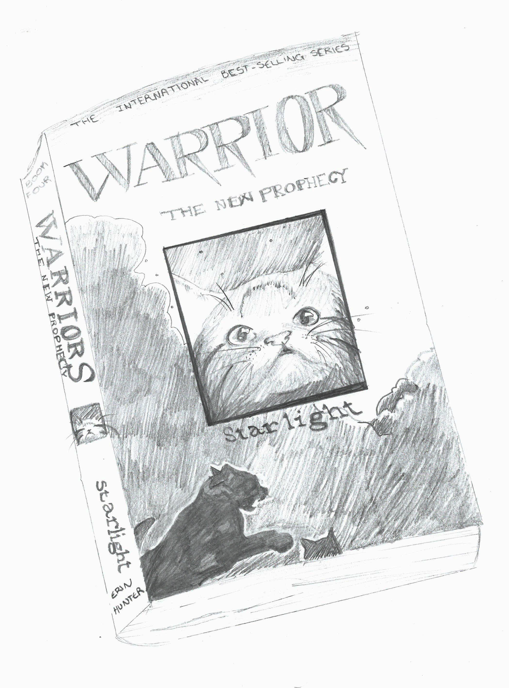 pencil drawing of a book called 'warrior' with an image of a cat on the front